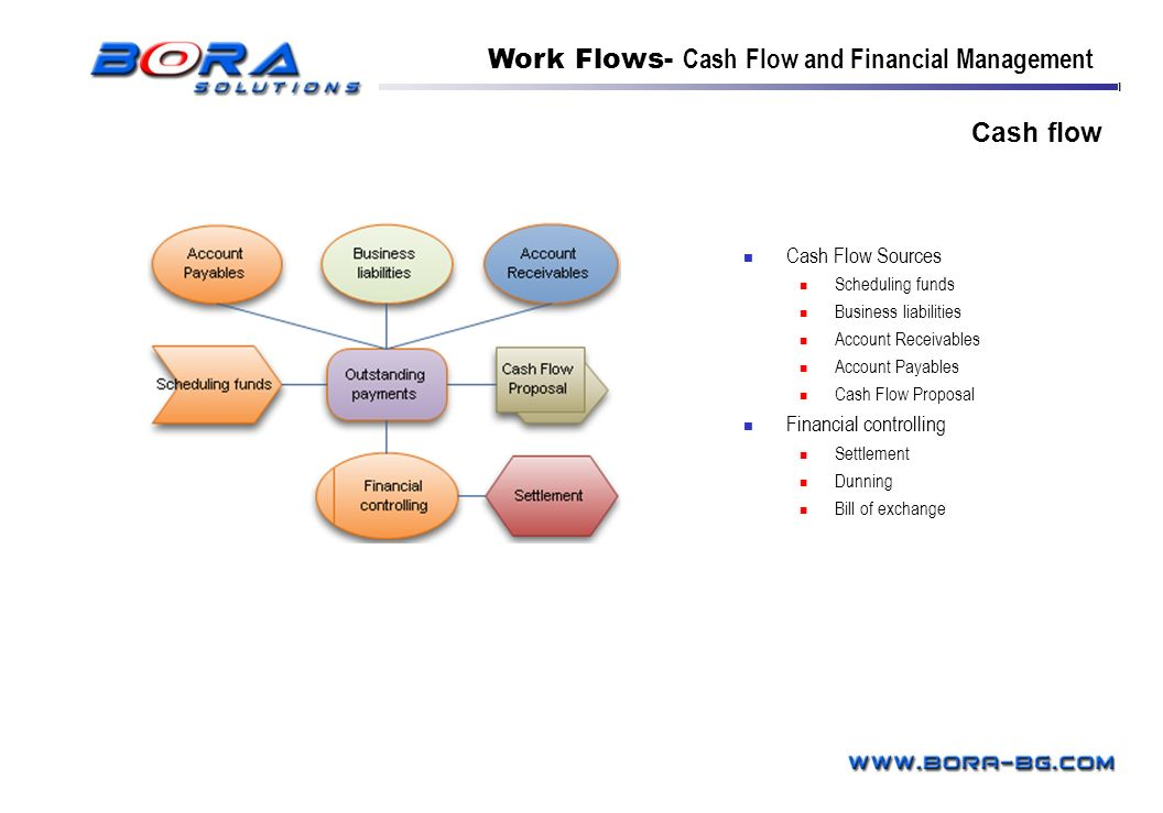 Cash flow Cash Flow Sources Scheduling funds Business liabilities Account Receivables Account Payables Cash Flow Proposal Financial controlling Settle