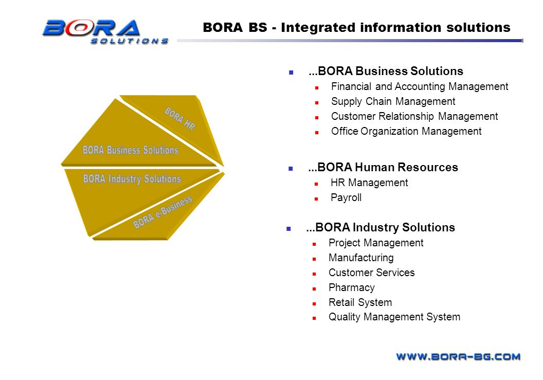 BORA BS - Integrated information solutions...BORA Business Solutions Financial and Accounting Management Supply Chain Management Customer Relationship