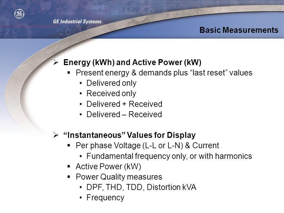Energy (kWh) and Active Power (kW) Present energy & demands plus last reset values Delivered only Received only Delivered + Received Delivered – Recei