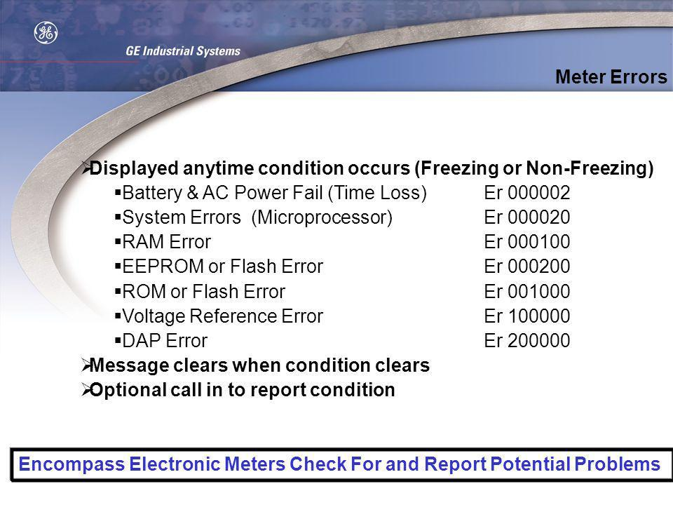 Displayed anytime condition occurs (Freezing or Non-Freezing) Battery & AC Power Fail (Time Loss)Er 000002 System Errors (Microprocessor)Er 000020 RAM