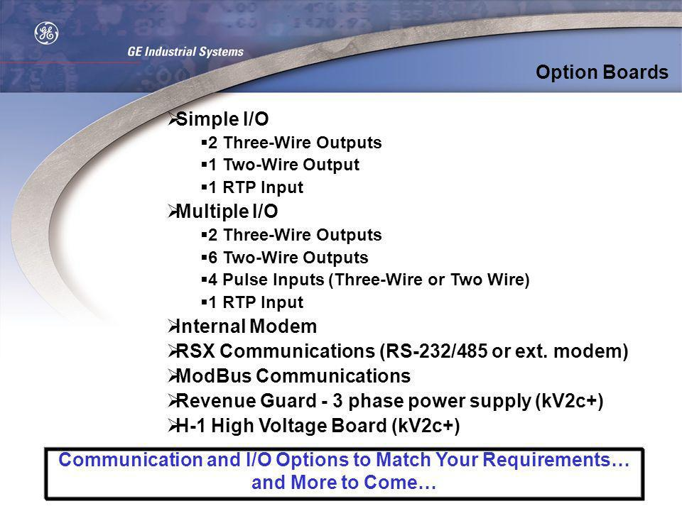 Option Boards Simple I/O 2 Three-Wire Outputs 1 Two-Wire Output 1 RTP Input Multiple I/O 2 Three-Wire Outputs 6 Two-Wire Outputs 4 Pulse Inputs (Three