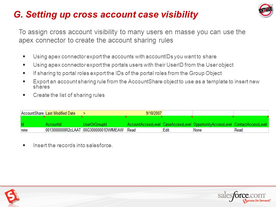 25 G. Setting up cross account case visibility To assign cross account visibility to many users en masse you can use the apex connector to create the