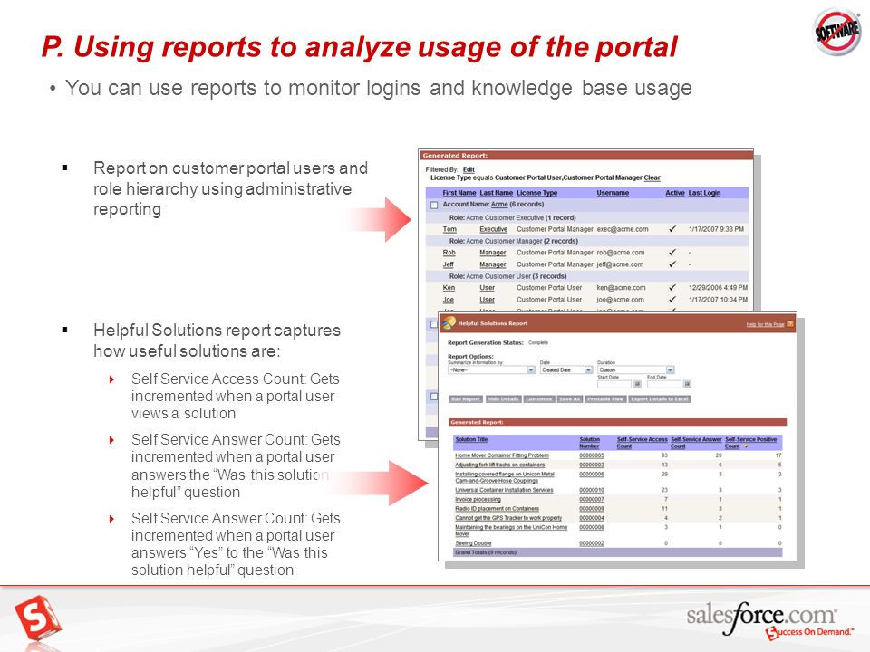 35 P. Using reports to analyze usage of the portal You can use reports to monitor logins and knowledge base usage Report on customer portal users and