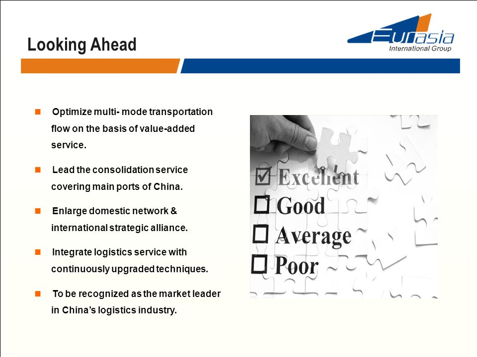 Looking Ahead Optimize multi- mode transportation flow on the basis of value-added service. Lead the consolidation service covering main ports of Chin