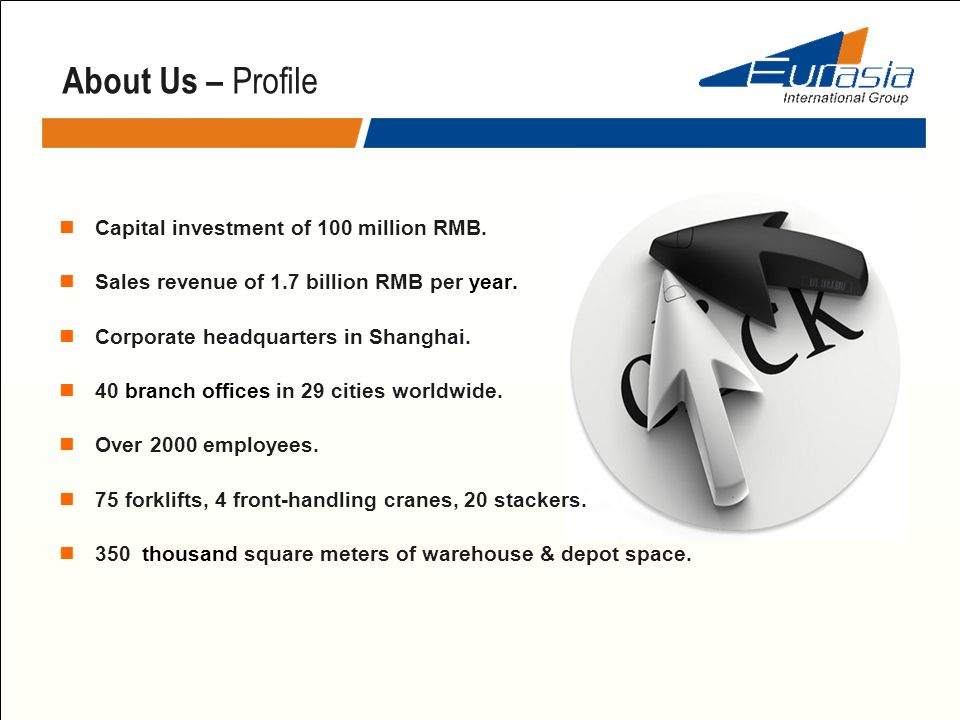 Capital investment of 100 million RMB. Sales revenue of 1.7 billion RMB per year. Corporate headquarters in Shanghai. 40 branch offices in 29 cities w