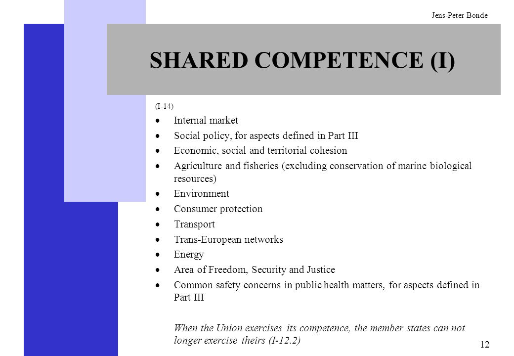 12 Jens-Peter Bonde SHARED COMPETENCE (I) (I-14) Internal market Social policy, for aspects defined in Part III Economic, social and territorial cohes