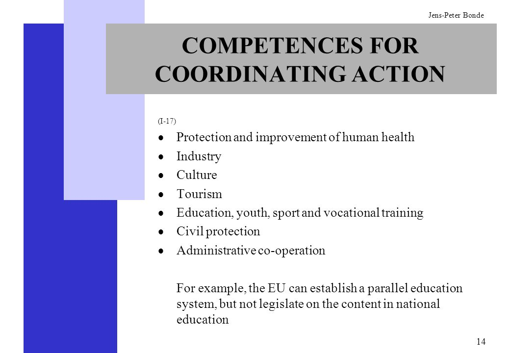 14 Jens-Peter Bonde COMPETENCES FOR COORDINATING ACTION (I-17) Protection and improvement of human health Industry Culture Tourism Education, youth, s