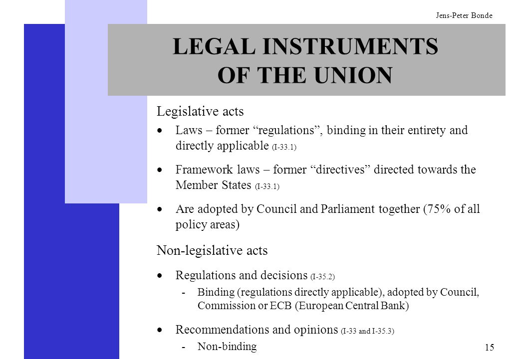 15 Jens-Peter Bonde LEGAL INSTRUMENTS OF THE UNION Legislative acts Laws – former regulations, binding in their entirety and directly applicable (I-33