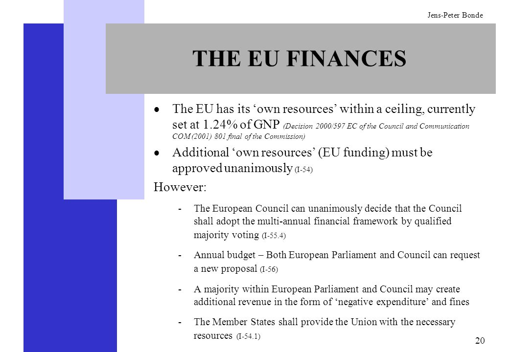 20 Jens-Peter Bonde THE EU FINANCES The EU has its own resources within a ceiling, currently set at 1.24% of GNP (Decision 2000/597 EC of the Council