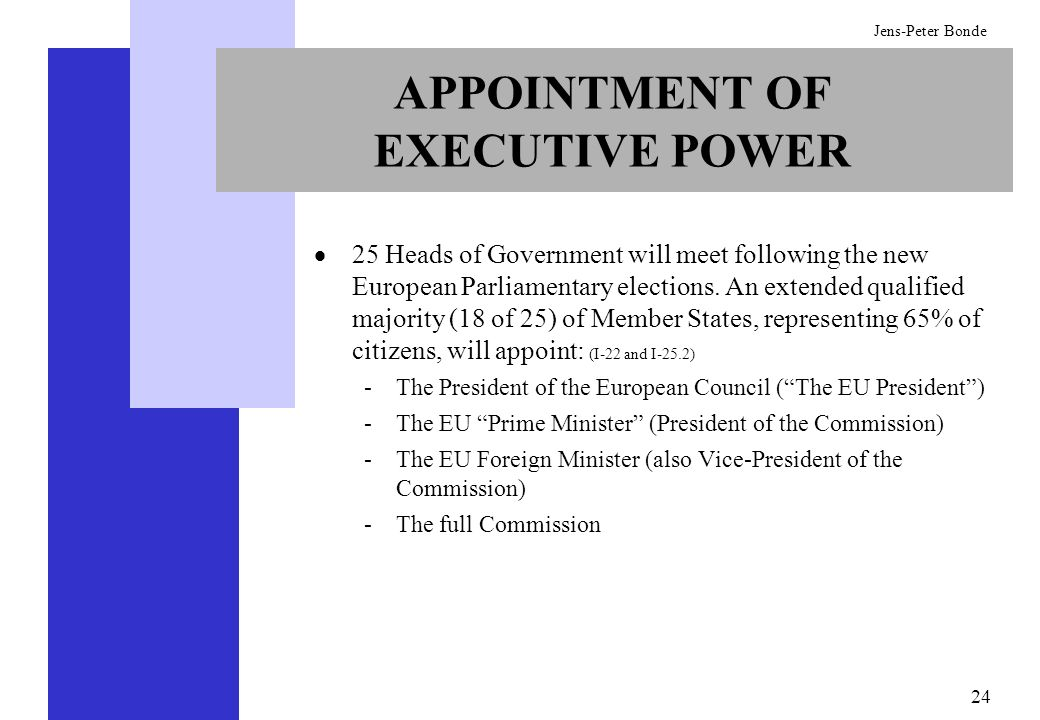 24 Jens-Peter Bonde APPOINTMENT OF EXECUTIVE POWER 25 Heads of Government will meet following the new European Parliamentary elections. An extended qu