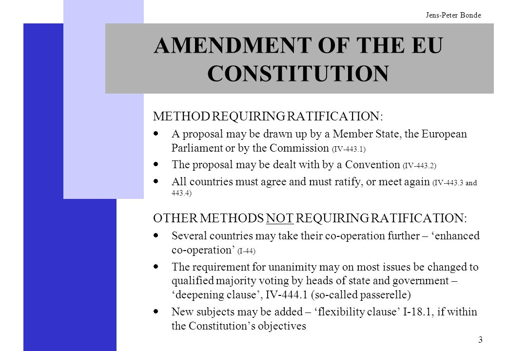 3 Jens-Peter Bonde AMENDMENT OF THE EU CONSTITUTION METHOD REQUIRING RATIFICATION: A proposal may be drawn up by a Member State, the European Parliame