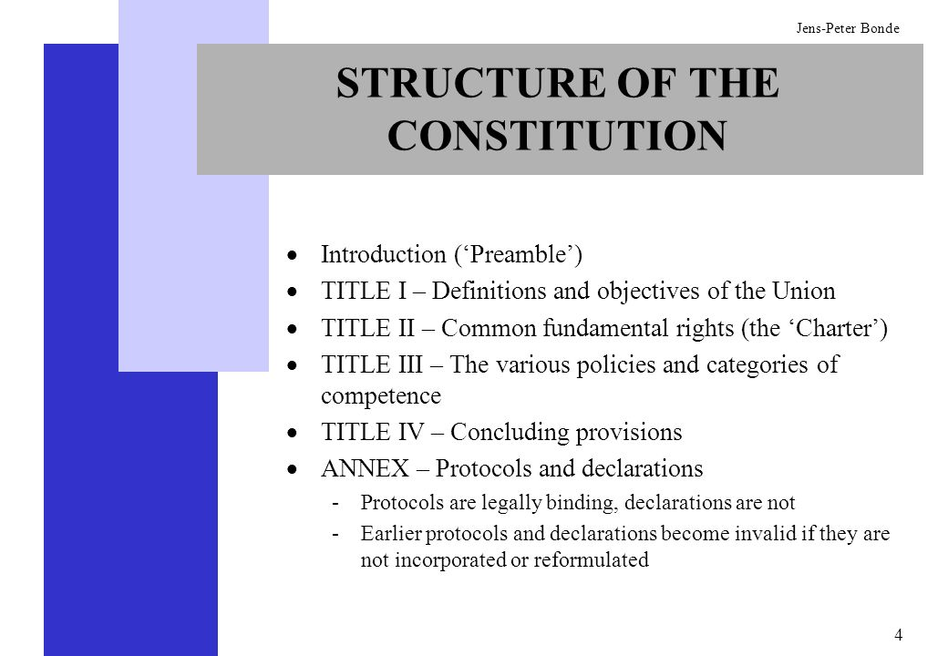 4 Jens-Peter Bonde STRUCTURE OF THE CONSTITUTION Introduction (Preamble) TITLE I – Definitions and objectives of the Union TITLE II – Common fundament