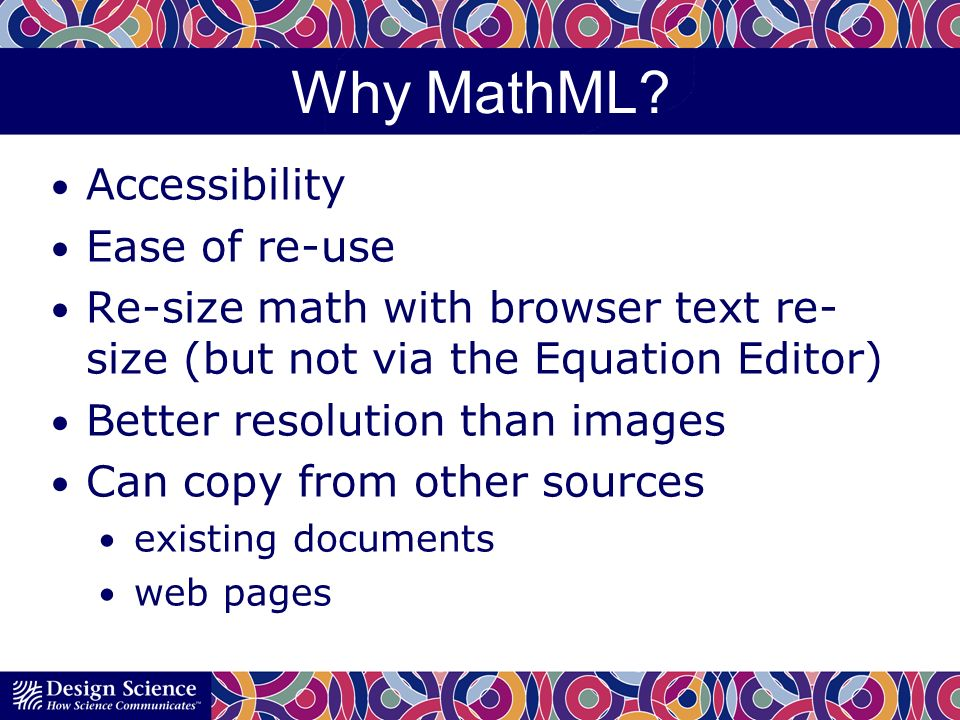 Why MathML.