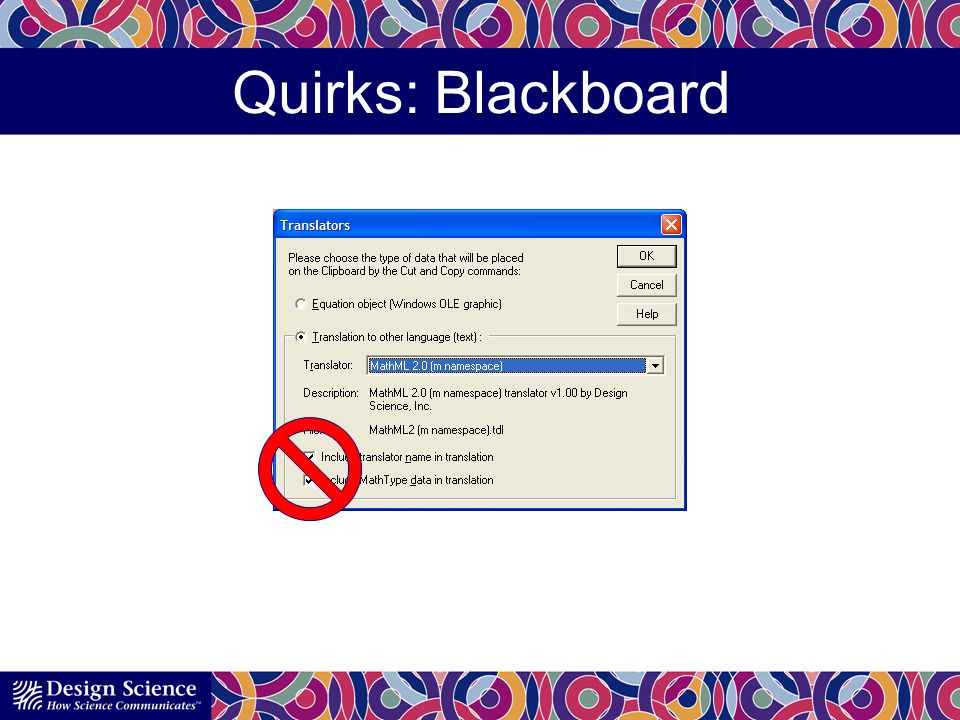 Quirks: Blackboard Doesnt allow whitespace in the code.