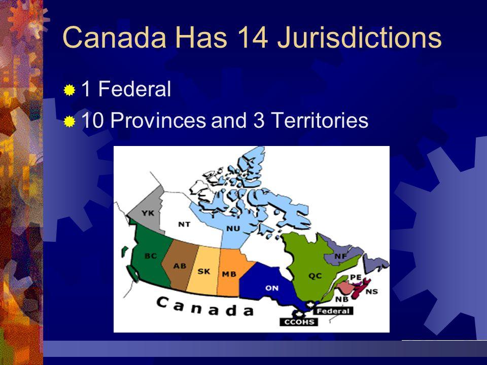 Canada Has 14 Jurisdictions 1 Federal 10 Provinces and 3 Territories