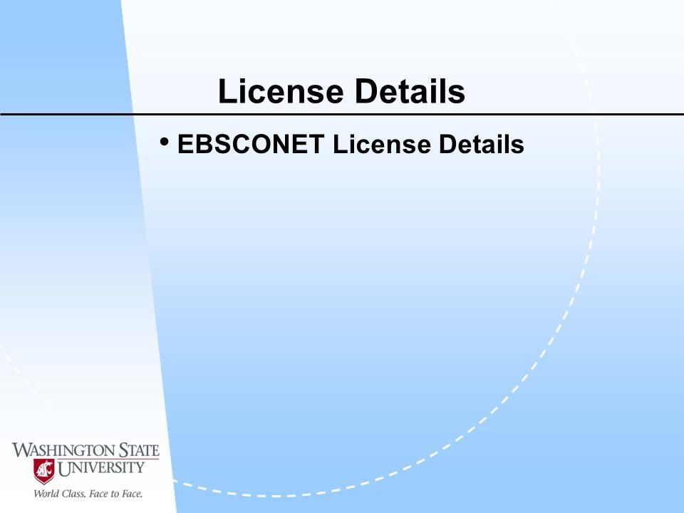 License Details EBSCONET License Details