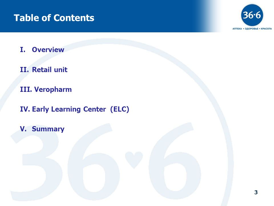 3 Table of Contents I.Overview II.Retail unit III. Veropharm IV.Early Learning Center (ELC) V.Summary 3