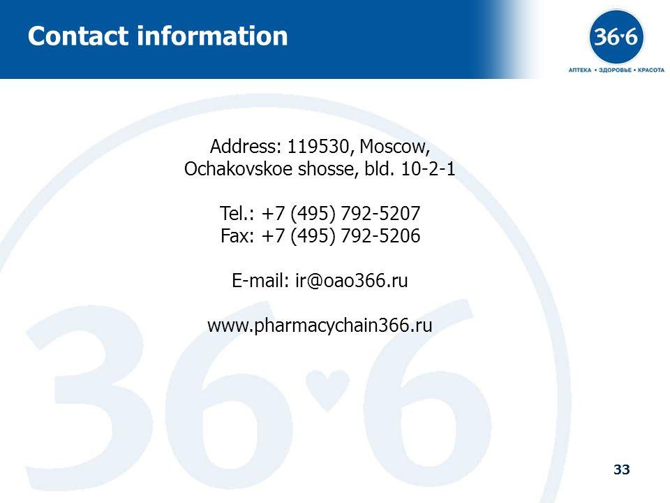 33 Address: 119530, Moscow, Ochakovskoe shosse, bld. 10-2-1 Tel.: +7 (495) 792-5207 Fax: +7 (495) 792-5206 E-mail: ir@oao366.ru www.pharmacychain366.r