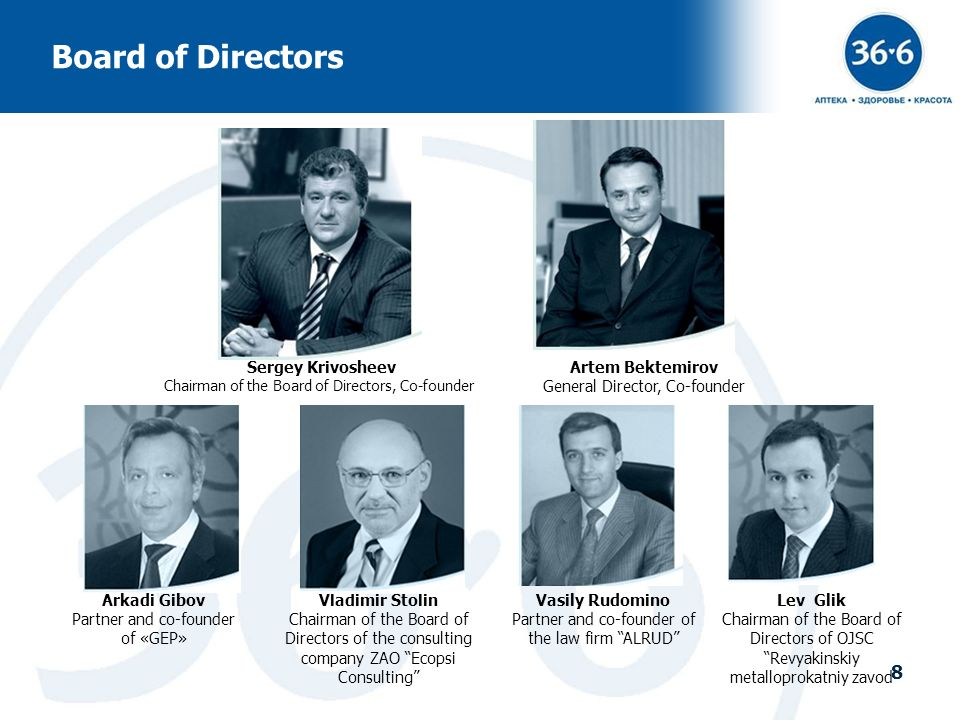 8 Board of Directors Sergey Krivosheev Chairman of the Board of Directors, Co-founder Artem Bektemirov General Director, Co-founder Vladimir Stolin Ch