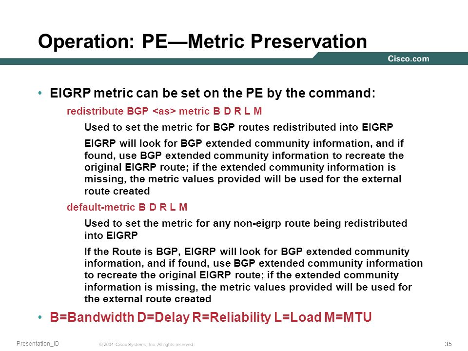 35 © 2004 Cisco Systems, Inc. All rights reserved. Presentation_ID Operation: PEMetric Preservation EIGRP metric can be set on the PE by the command: