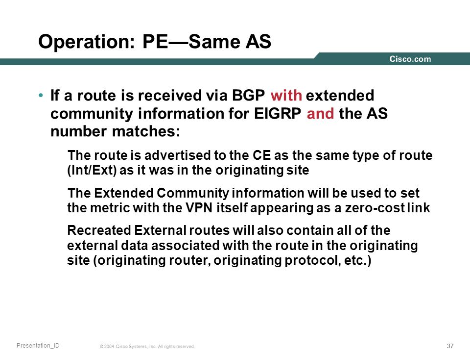 37 © 2004 Cisco Systems, Inc. All rights reserved. Presentation_ID Operation: PESame AS If a route is received via BGP with extended community informa