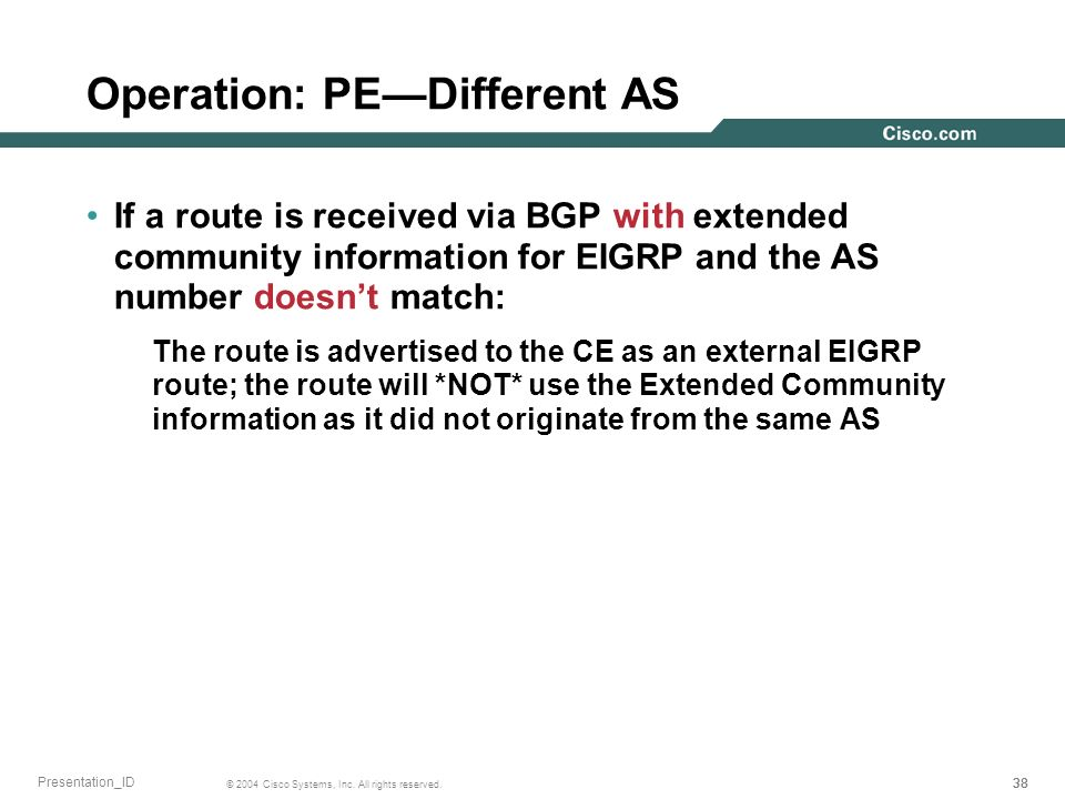 38 © 2004 Cisco Systems, Inc. All rights reserved. Presentation_ID Operation: PEDifferent AS If a route is received via BGP with extended community in