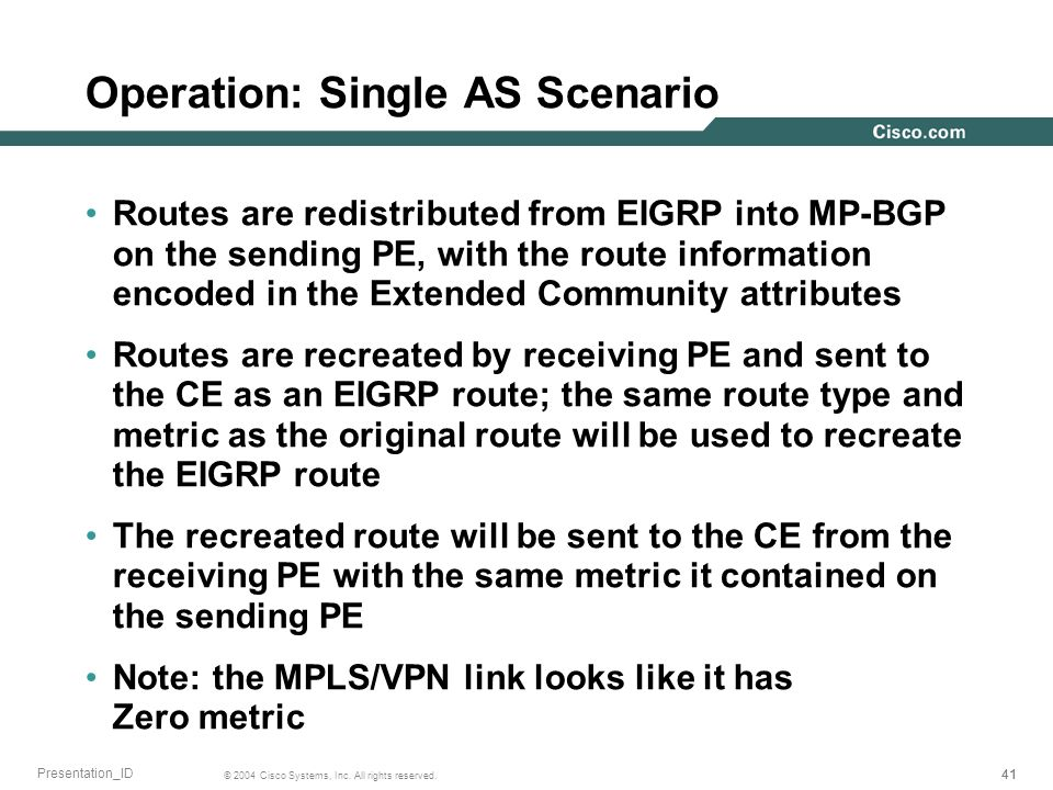 41 © 2004 Cisco Systems, Inc. All rights reserved. Presentation_ID Operation: Single AS Scenario Routes are redistributed from EIGRP into MP-BGP on th