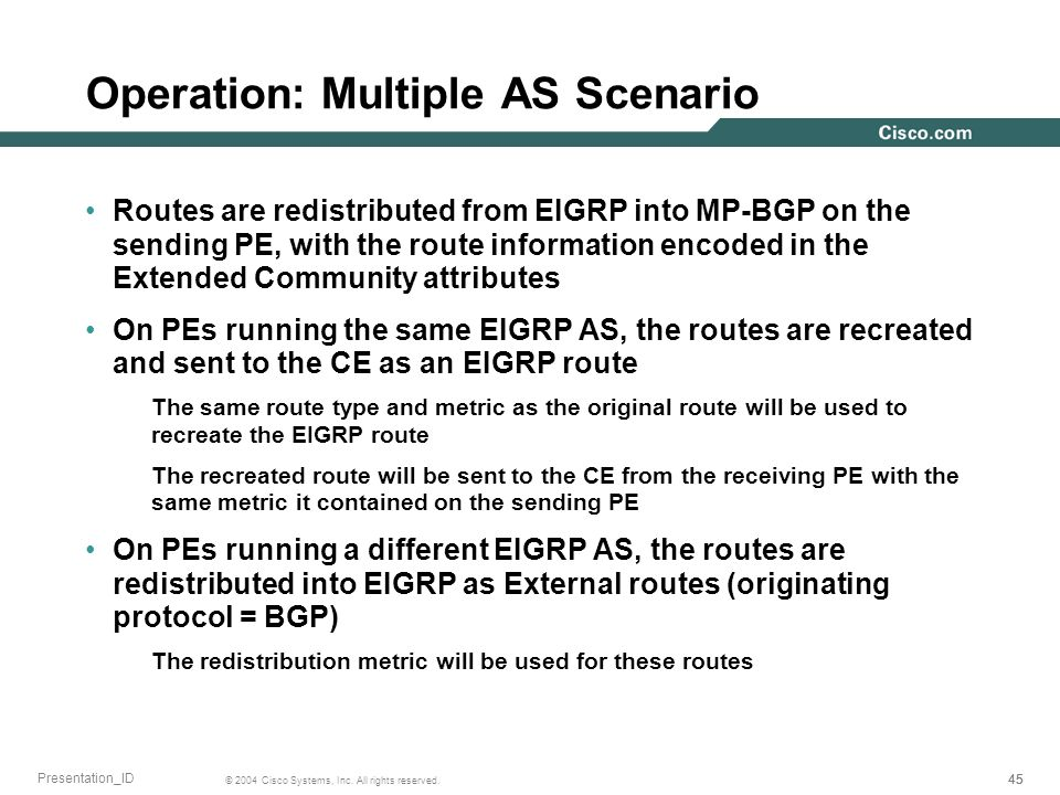 45 © 2004 Cisco Systems, Inc. All rights reserved. Presentation_ID Operation: Multiple AS Scenario Routes are redistributed from EIGRP into MP-BGP on