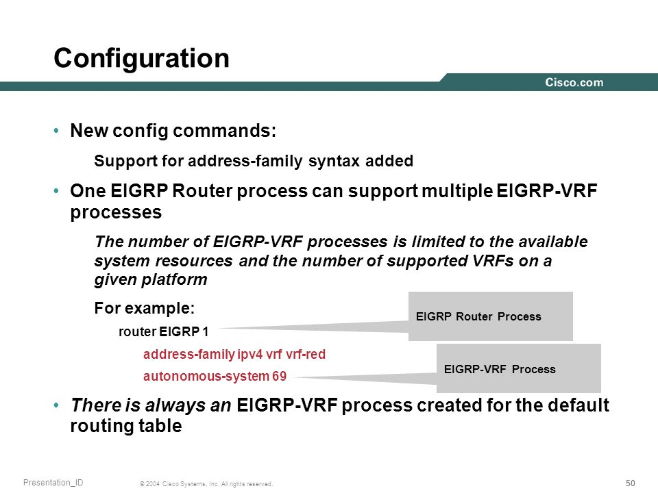 50 © 2004 Cisco Systems, Inc. All rights reserved. Presentation_ID Configuration New config commands: Support for address-family syntax added One EIGR