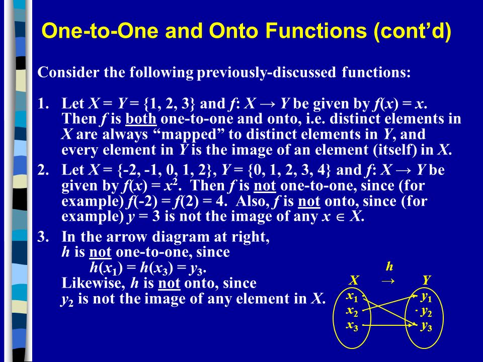 Consider the following previously-discussed functions: 1. Let X = Y = {1, 2, 3} and f: X Y be given by f(x) = x. Then f is both one-to-one and onto, i