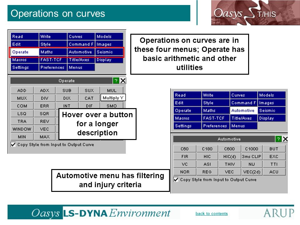 back to contents Operations on curves Operations on curves are in these four menus; Operate has basic arithmetic and other utilities Hover over a butt