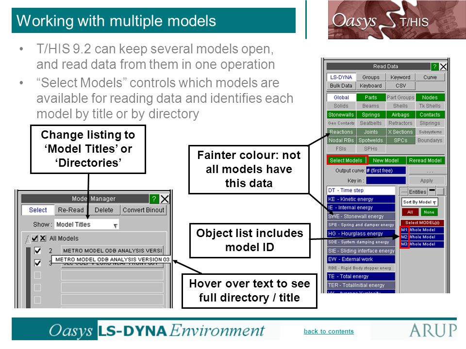 back to contents Working with multiple models T/HIS 9.2 can keep several models open, and read data from them in one operation Select Models controls