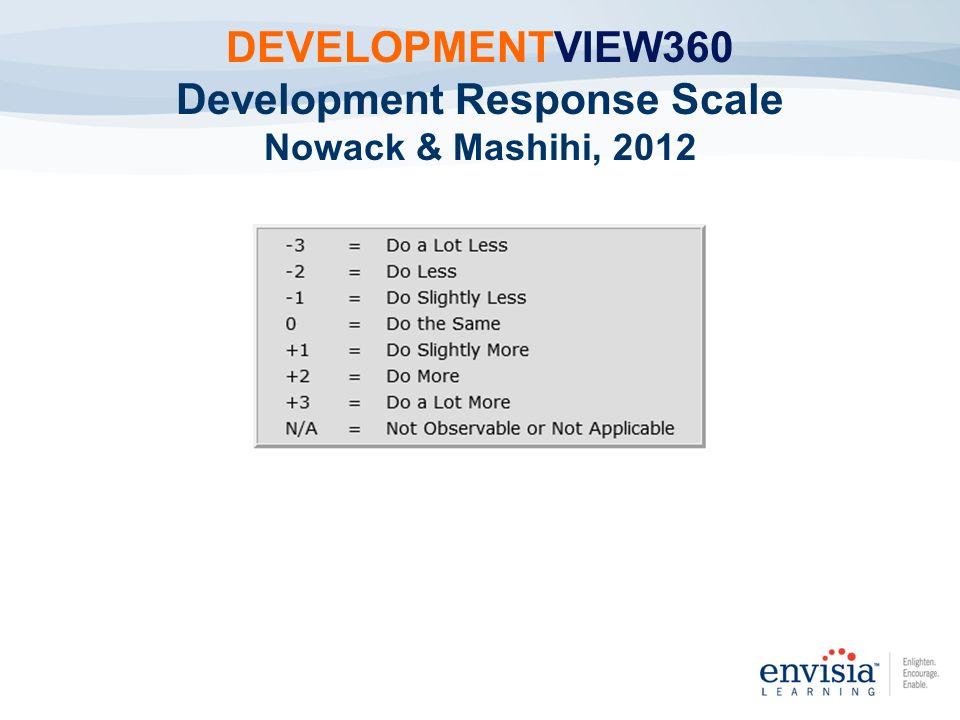 DEVELOPMENTVIEW360 Development Response Scale Nowack & Mashihi, 2012