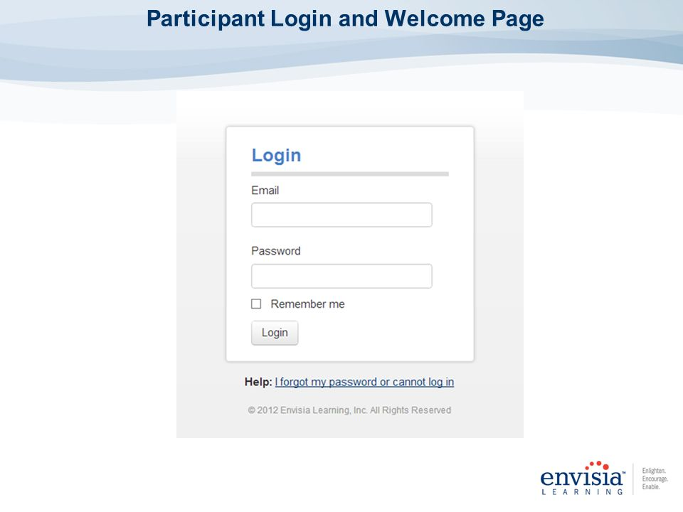 Participant Login and Welcome Page