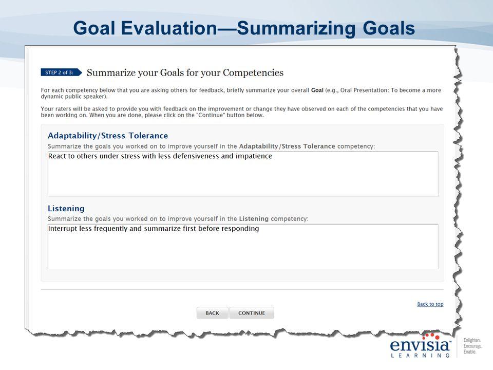 Goal EvaluationSummarizing Goals