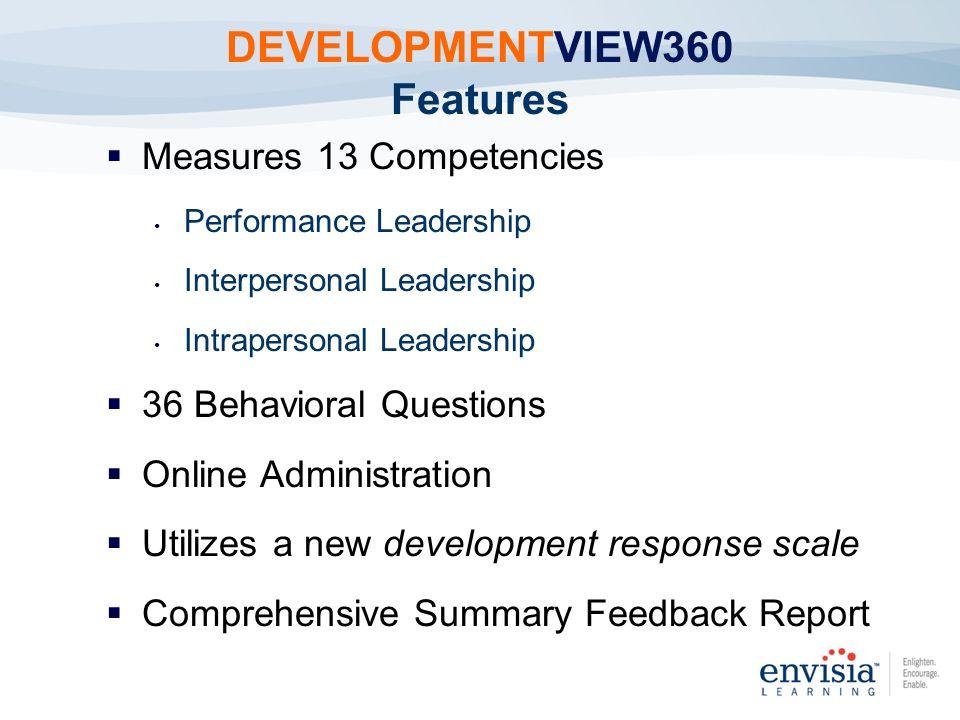 Measures 13 Competencies Performance Leadership Interpersonal Leadership Intrapersonal Leadership 36 Behavioral Questions Online Administration Utiliz