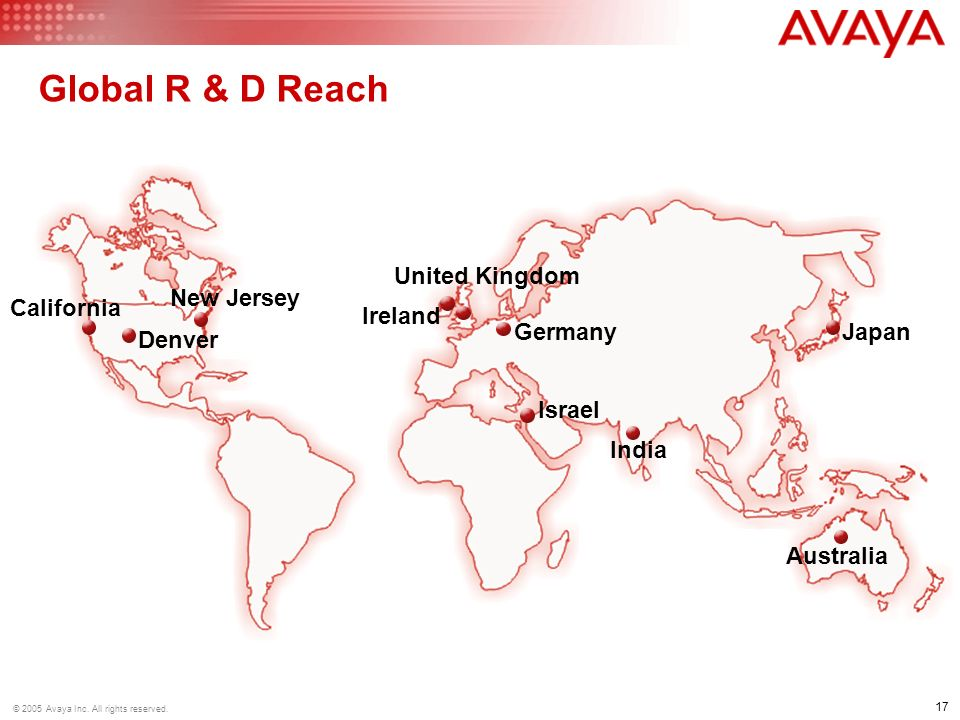 17 © 2005 Avaya Inc. All rights reserved. Global R & D Reach Germany United Kingdom Ireland Israel India Australia Japan New Jersey Denver California
