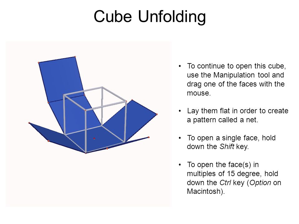 Cube Unfolding To continue to open this cube, use the Manipulation tool and drag one of the faces with the mouse. Lay them flat in order to create a p
