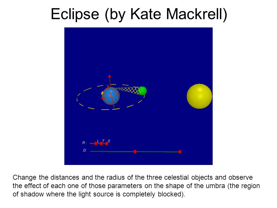 Eclipse (by Kate Mackrell) Change the distances and the radius of the three celestial objects and observe the effect of each one of those parameters o