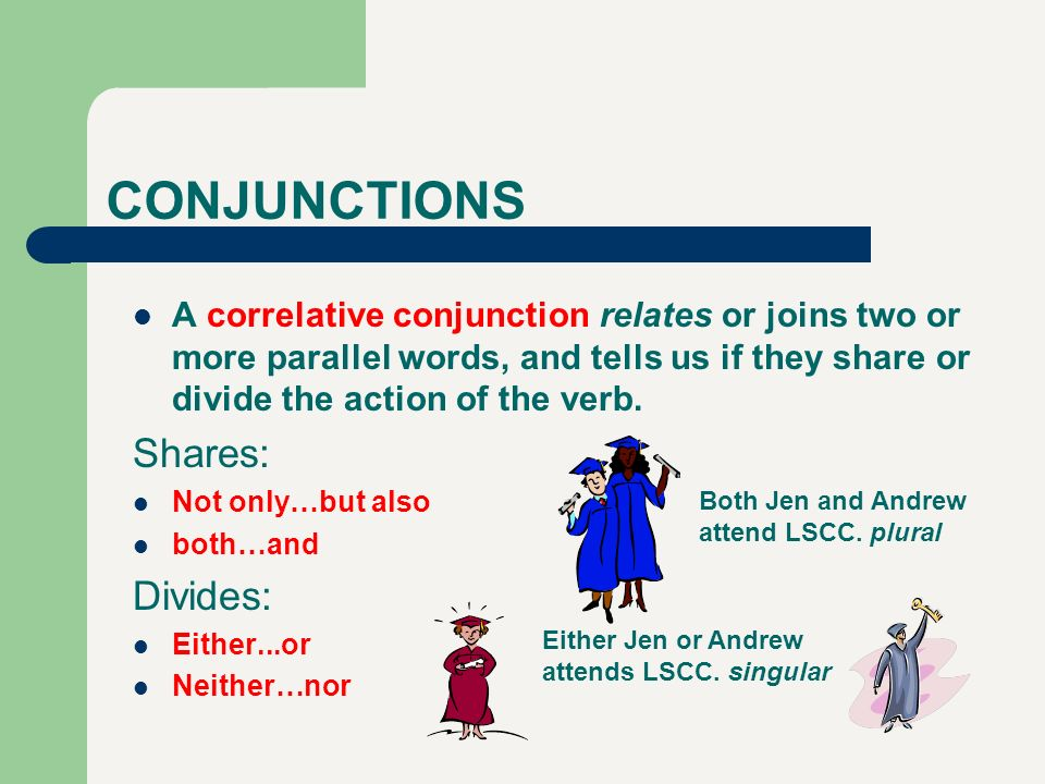 CONJUNCTIONS A correlative conjunction relates or joins two or more parallel words, and tells us if they share or divide the action of the verb. Share