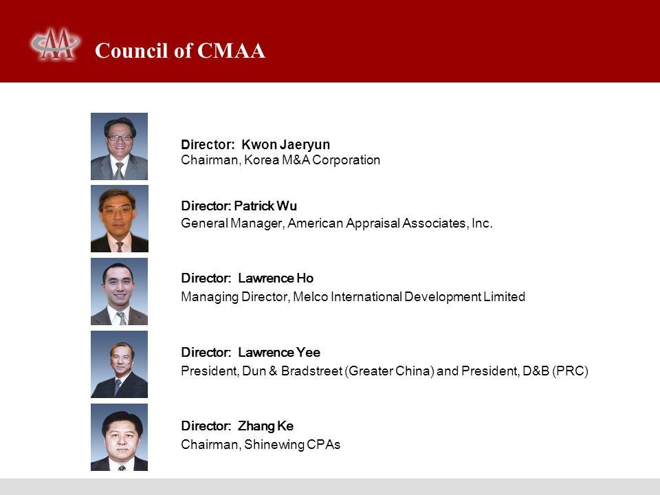Director: Kwon Jaeryun Chairman, Korea M&A Corporation Director: Patrick Wu General Manager, American Appraisal Associates, Inc. Director: Lawrence Ho
