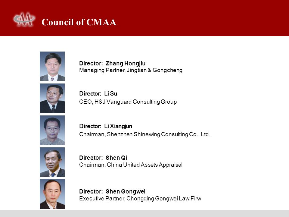 Director: Zhang Hongjiu Managing Partner, Jingtian & Gongcheng Director: Li Su CEO, H&J Vanguard Consulting Group Director: Li Xiangjun Chairman, Shen