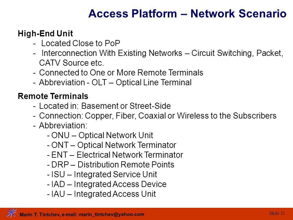 Marin T. Tintchev, e-mail: marin_tintchev@yahoo.com Slide 11 Access Platform – Network Scenario High-End Unit - Located Close to PoP - Interconnection