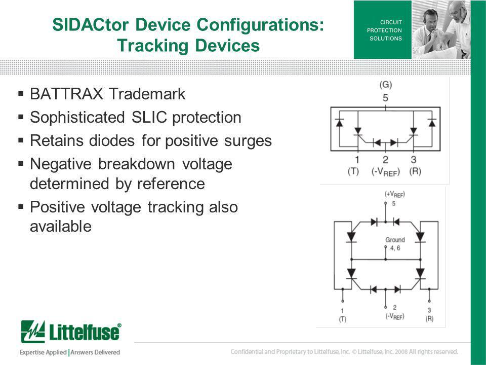 24 Version01_100407 SIDACtor Device Configurations: Tracking Devices BATTRAX Trademark Sophisticated SLIC protection Retains diodes for positive surge