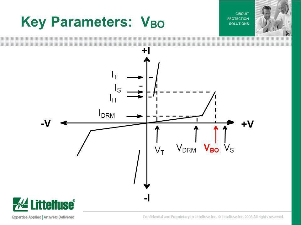 8 Version01_100407 Key Parameters: V BO +I +V -V -I ITIT ISIS IHIH I DRM VTVT V DRM V BO VSVS