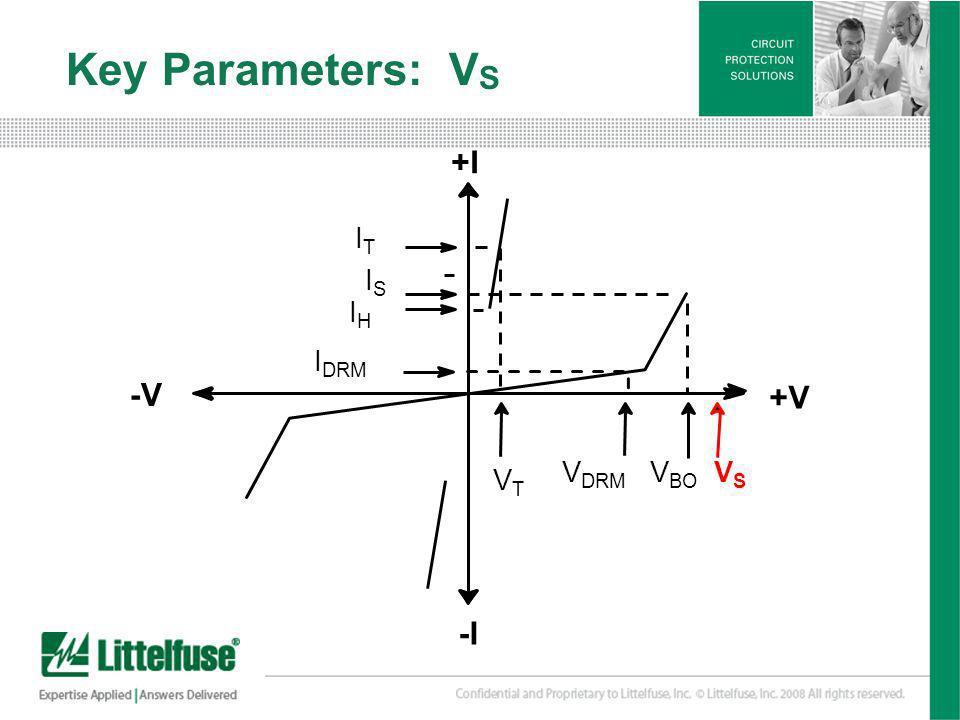 9 Version01_100407 Key Parameters: V S +I +V -V -I ITIT ISIS IHIH I DRM VTVT V DRM V BO VSVS