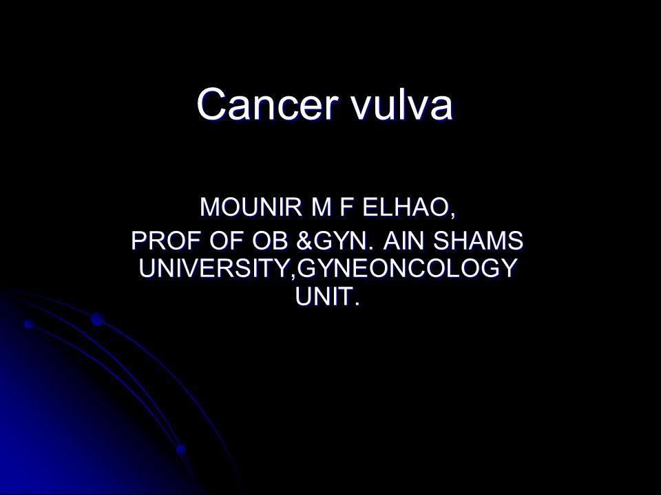 Cancer vulva MOUNIR M F ELHAO, PROF OF OB &GYN. AIN SHAMS UNIVERSITY,GYNEONCOLOGY UNIT.