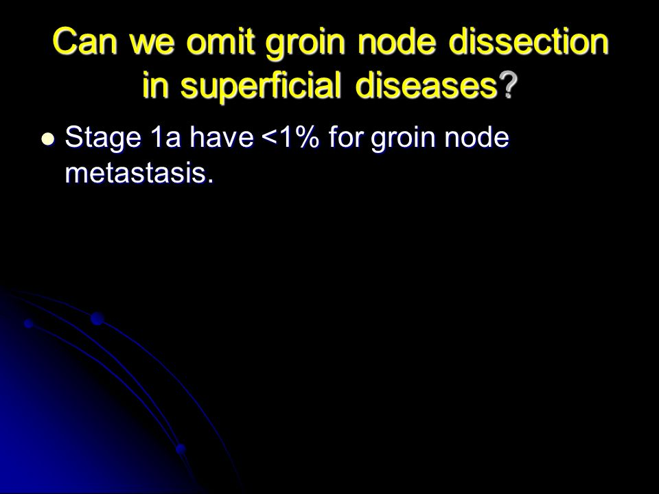 Can we omit groin node dissection in superficial diseases? Stage 1a have <1% for groin node metastasis. Stage 1a have <1% for groin node metastasis.
