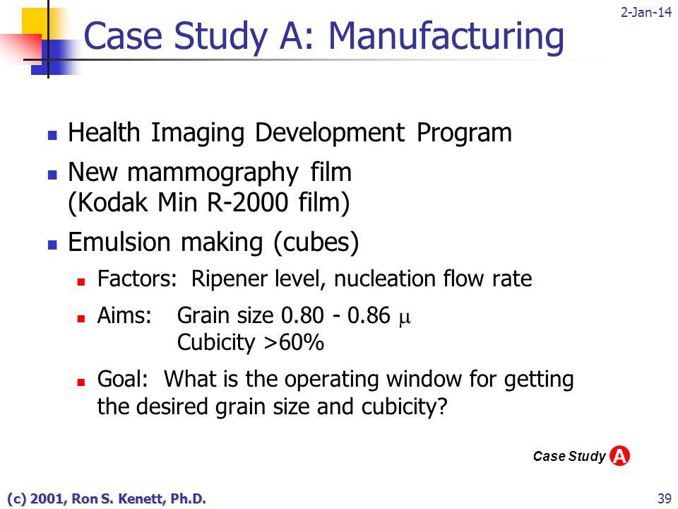 2-Jan-14 (c) 2001, Ron S. Kenett, Ph.D.39 Case Study A: Manufacturing Health Imaging Development Program New mammography film (Kodak Min R-2000 film)