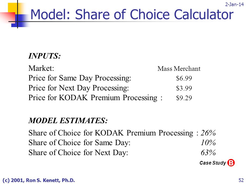 2-Jan-14 (c) 2001, Ron S. Kenett, Ph.D.52 Model: Share of Choice Calculator INPUTS: Market: Mass Merchant Price for Same Day Processing: $6.99 Price f